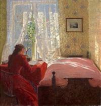 ung kvinne ved vinduet by frederik kolstö