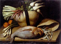 bodegón con besugo, sardinas y cesta de hortalizas sobre una repisa by salvator gutierrez
