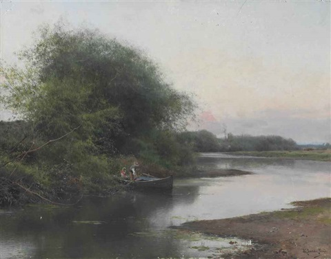 a summer day on the river by emilio sanchez perrier