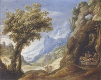 the dead christ lamented by angels in a mountainous landscape by isaak de hoey