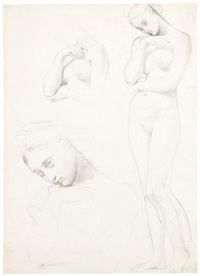 three studies for the figure of stratonice by jean-auguste-dominique ingres
