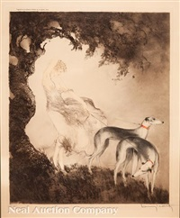 lady and greyhounds by louis icart