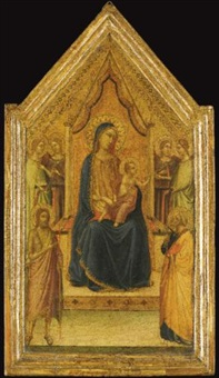 the madonna and child enthroned flanked by four angels and saints john the baptist and peter (central panel of tabernacle) by bernardo daddi