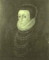 portrait of mary queen of scots wearing a black dress by hans eworth