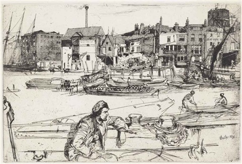 black lion wharf from the thames set by james abbott mcneill whistler
