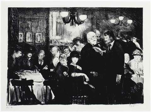 artists evening at petitpas by george wesley bellows