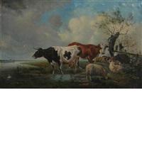 cows in a landscape by hendrik van de sande bakhuyzen