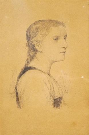 portrait dune jeune femme de profil by albert anker