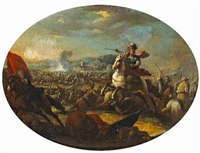 a battle scene with a mounted warrior in the foreground by francesco (da gubbio) allegrini