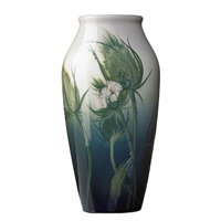 iris vase with thistle by j. d. wareham