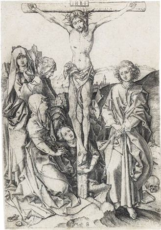 the crucifixion from passion by martin schongauer