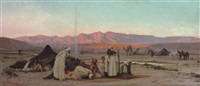 prayer at sunset outside barka, oman by adolf karol sandoz