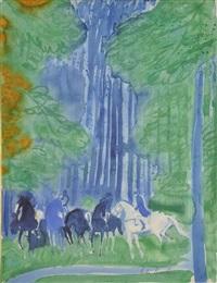 chevaux dans le sous-bois by andré brasilier