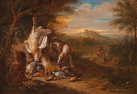hunting booty in a landscape (pair) by adriaen de gryef