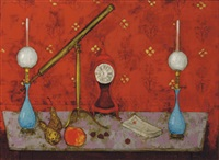 still life of a telescope, two lamps, a mantle clock and fruit on a table by paul gaston cressent