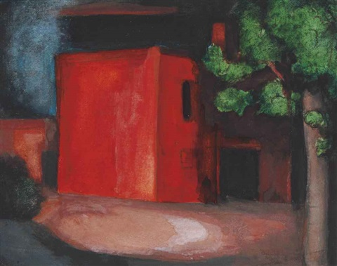 study for red the barn petersville on mahanoy pennsylvania by oscar florianus bluemner
