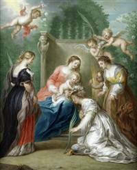 the virgin and child with saints margaret of antioch, catherine of alexandria and elizabeth of hungary by jacob andries beschey