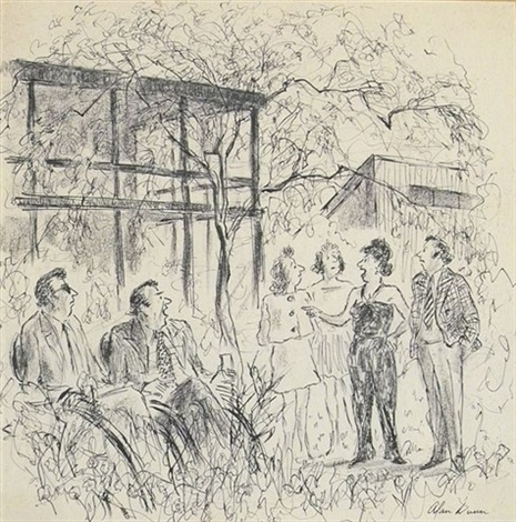 woman holding forth at outdoor social gathering illus for new yorker by alan cantwell dunn