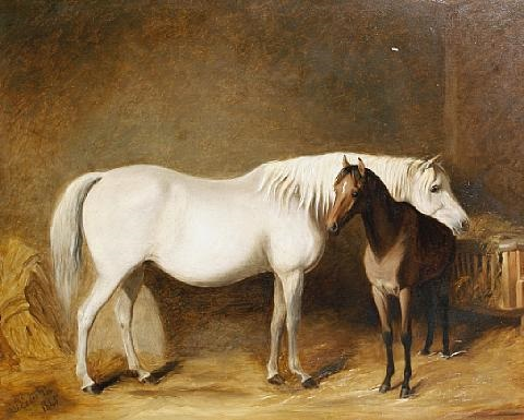 horse and foal in a stable by james of bath loder