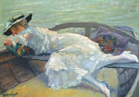 im ruderboot girl in a boat by edward cucuel