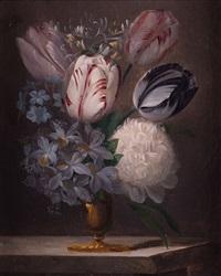 jarrón con tulipanes, madreselva, jacinto, jazmín y peonía by edouard joseph françois autrique