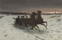 a winter sleigh ride by sigismund ajdukiewicz