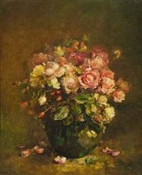 vase fleuri de roses by andrée marissal-calberg