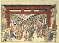 shin yoshiwara daimonguchi uki-e kongen by okumura masanobu