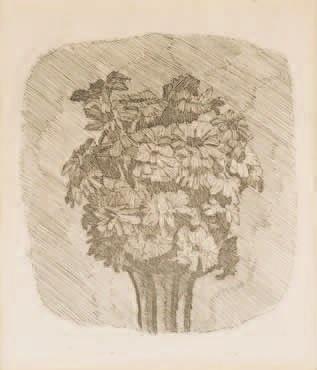 zinnie in vaso a strisce by giorgio morandi