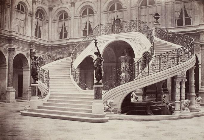 hotel de ville de paris escalier de la cour dhonneur by charles marville