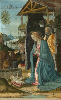 the nativity, an extensive landscape beyond by jacopo del sellaio