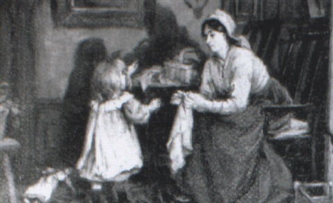 a mother and child in an interior by william hippon gadsby