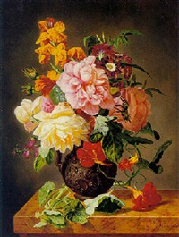 vase of flowers on a marble table by simon saint-jean
