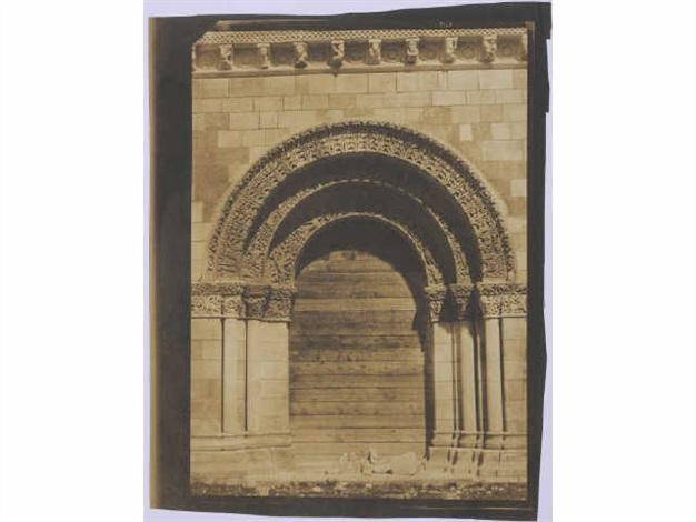 portail façade ouest église saint pierre châteauneuf sur charente charente from mission héliographique by gustave le gray and auguste mestral