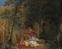 a wooded landscape with amorous couples making music before a herm of bacchus by karel philips spierincks