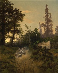 a herd of sheep on a country path by carl von perbandt