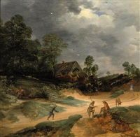 a dune landscape with figures and pigs on a track near a cottage by lodewijk de vadder