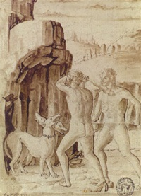 hercules with an attendant attacking cerberus at the entrance to avernus by francesco squarcione