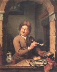 a gentleman seated at an arched window smoking a clay pipe by tiebout regters