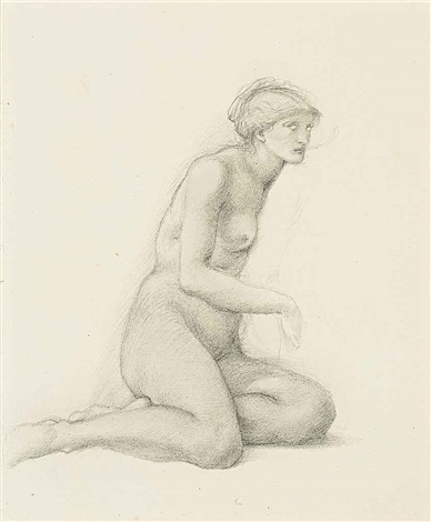 study of a seated female figure for the garden of pan by edward burne jones
