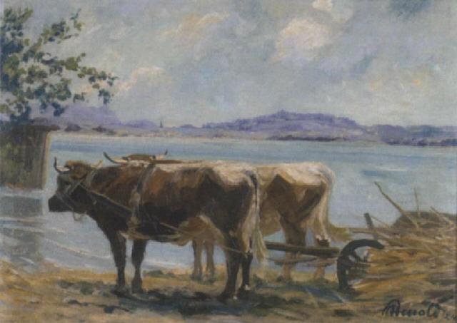 chiemsee landschaft mit einem ochsenkarren im vordergrund by karl august arnold
