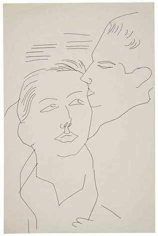two male heads by andy warhol