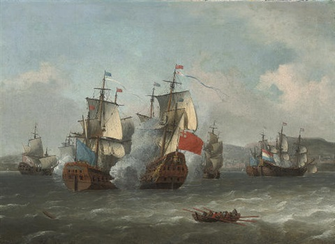 the battle of leghorn 4th march 1653 during the first anglo dutch war by aernout johann arnold smit