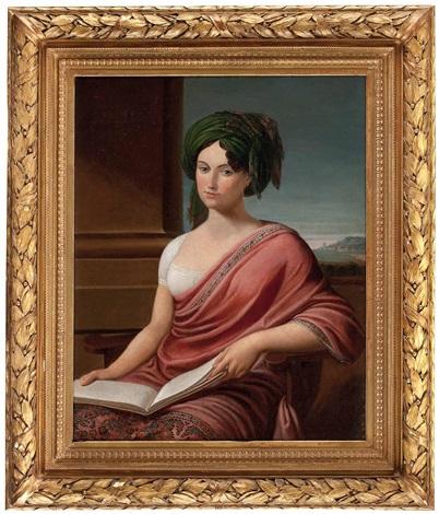sitz portrait einer dame mit buch lady hamilton vor pfeiler und landschaftsausschnitt by andrea appiani