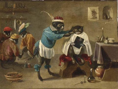 an interior of a monkey barbershop with a monkey trimming a cat and three monkeys sitting in the background by abraham teniers