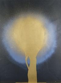 ohne titel (komposition in gold, blau und schwarz) by otto piene