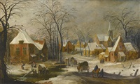 a winter landscape with travellers passing through a village by joos de momper the younger