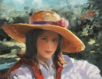 girl in straw hat by ken hamilton