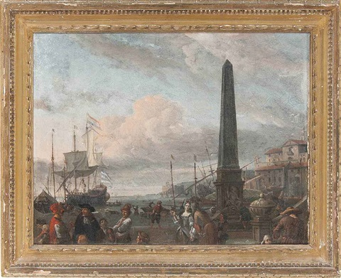 a capriccio of a large dutch merchantman lying off a mediterranean port, with elegant figures and traders on the quayside by abraham jansz storck
