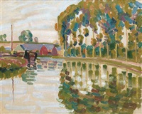 paysage aux peupliers by auguste herbin
